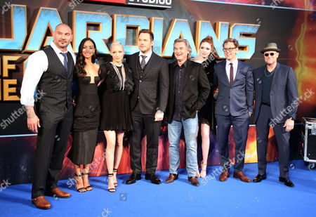 David Bautista, Zoe Saldana, Pom Klementieff, Chris Pratt, Kurt Russell, Karen Gillan, James Gunn and Michael Rooker