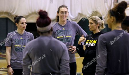 Jenny Boucek, Sue Bird, Breanna Stewart Seattle Storm's Sue Bird, left, and Breanna Stewart look on as head coach Jenny Boucek talks in a huddle during a team basketball practice, in Seattle. The team opened camp Sunday, and opens their season May?13 at Los Angeles, against the defending WNBA champions