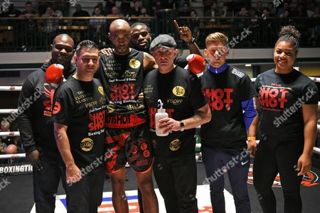Duane Sinclair (red/black shorts) defeats Jimmy White during a Boxing Show at York Hall on 22nd April 2017