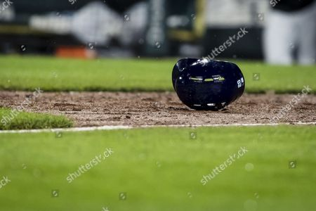 Stock Image of Tampa Bay Rays right fielder Steven Souza Jr. (20) gets hit while trying to bunt during MLB game between Tampa Bay Rays and Baltimore Orioles at Oriole Park at Camden Yards in Baltimore, Maryland