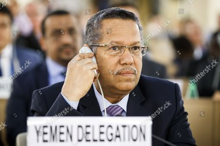 Yemen Prime Minister Ahmed Obeid bin Daghr attends the high-level pledging event for the humanitarian crisis in Yemen at the European headquarters of the United Nations in Geneva, 25 April 2017. Members of the international community gathered for a pledging conference on Yemen to ease the suffering of the conflict battered Arab country, where millions of people are in desperate need of assistance.