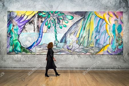 Editorial picture of Chris Ofili 'The Caged Bird's Song' tapestry press preview, London, UK - 25 Apr 2017