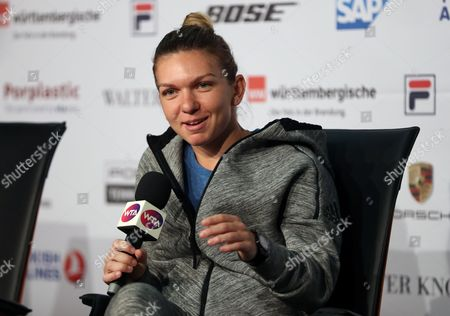 Rumania's Simona Halep Press Conference where she answered questions on the Behavior of Fed Cup Captain Ilie Nastase during the WTA Porsche Tennis Grand Prix at the Porsche Arena