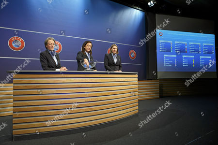 (L-R) UEFA chairwoman Women's Football Committee Karen Espelund, UEFA Women's football advisor Nadine Kessler, and UEFA Women's competitions manager Anne Vonnez during the drawing of the matches for the 2017-19 European Qualifying Competition for the FIFA Women's World Cup at the UEFA headquarters in Nyon, Switzerland, 25 April 2017. The FIFA Women's Cup will take place in France 2019.