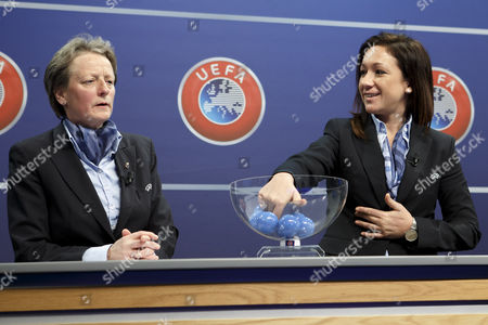 UEFA chairwoman Women's Football Committee Karen Espelund (L) and UEFA Women's football advisor Nadine Kessler during the drawing of the matches for the 2017-19 European Qualifying Competition for the FIFA Women's World Cup at the UEFA headquarters in Nyon, Switzerland, 25 April 2017. The FIFA Women's Cup will take place in France 2019.