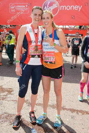 Heather Stanning (Olympic Gold Medal winning rower running for Royal British Legion Industries) and Helen Glover (Olympic Gold Medal winning rower running for The Brain & Spine Foundation)