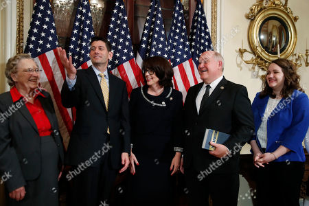 Paul Ryan, Ron Estes House Speaker Paul Ryan of Wisconsin makes a comment after a ceremonial swearing-in ceremony for Representative-elect Ron Estes, R-Kan., accompanied by his family at the Capitol in Washington