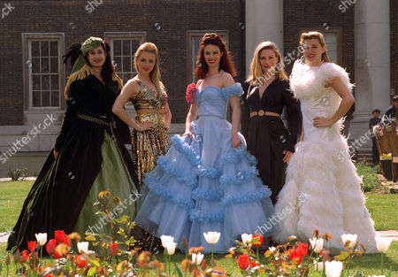 Pic Shows: A Line Up Of Models Wearing Copies Of Clothes Worn By The Stars In The Forties: L To R: Katrina Hawkins In A Vivien Leigh Dress From Gone With The Wind;melanie Light In A Joan Crawford Dress From'cover Girl'; Tracey Gittens In A Rita Hayworth Crinolne From 'cover Girl'; Cecilia Helseth In Lauren Bacall's To Have And To Have Not Bare Midriff Gown; Zoe O'shaughnessy In A Ginger Rogers Dress From Top Hat. All These Costumes Are Exact Replicas Of The Originals Made By Fashion Students At The University Of East London. A Series Of Fashion Shows Will Take Place At The War Museum Starting On Wednesday 16 April Till The 18th.