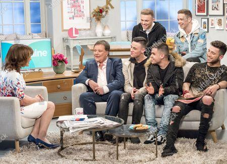 Lorraine Kelly with (Back Row) - Joel Healey and Sonny Hardman, (Front Row) Nigel Martin Smith, Lewis Maxwell, Cian Gleeson, Jake Donlan