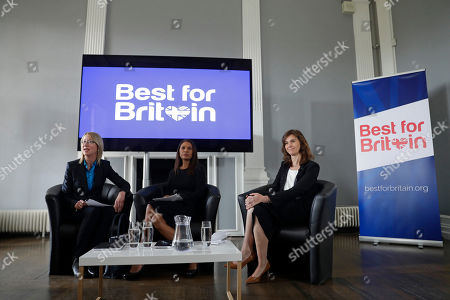 """Entrepreneur Gina Miller, center, and campaign director Eloise Todd, right, with journalist Mary Riddell launch their """"Best for Britain"""" campaign for tactical voting in the upcoming British general election at the Institute of Contemporary Arts in London, . Miller, an entrepreneur, became the face of the lawsuit which demanded that Britain's Prime Minister Theresa May's government get parliamentary approval before triggering Brexit"""