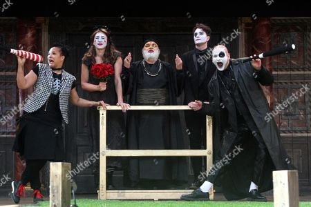 Golda Rosheuve as Mercutio, Kirsty Bushell as Juliet, Harish Patel as Friar Lawrence, Edward Hogg as Romeo and Ricky Champ as Tybalt