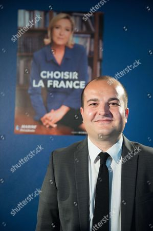 French far-right party Front National (FN) senator, Mayor of Frejus and FN presidential candidate Marine Le Pen's campaign director, David Rachline presents official campaign poster and the slogan for the second round of the election