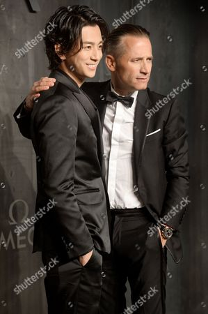 Stock Photo of Shohei Miura and Raynald Aeschlimann (CEO of Omega)