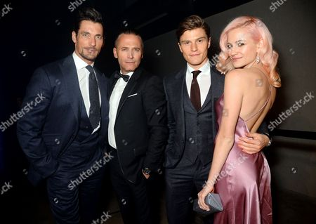 Stock Picture of David Gandy, Raynald Aeschlimann (CEO of Omega), Oliver Chesire, Pixie Lott