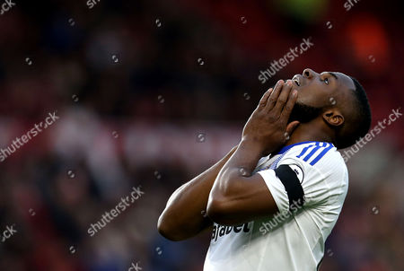 Victor Anichebe of Sunderland looks frustrated after missing a chance to score a goal