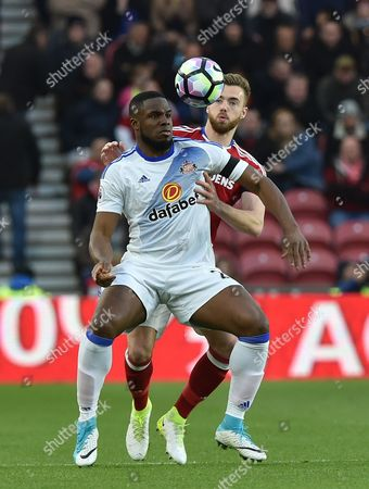 Calum Chambers of Middlesbrough and Victor Anichebe of Sunderland during the Premier League match between Middlesbrough and Sunderland played at The Riverside Stadium, Middlesbrough on Wednesday the 26th of April 2017
