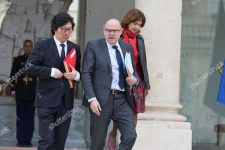 French Junior Minister for State reform and simplification, Jean-Vincent Place, French junior minister for Development and Francophony, Jean-Marie Le Guen and French Minister for Family, Children and women's rights, Laurence Rossignol leave after the weekly cabinet meeting at Elysee Palace