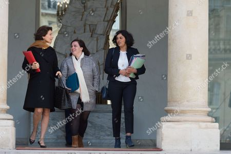 French Minister of Culture and Communication, Audrey Azoulay, French Minister of Housing and Sustainable Homes, Emmanuelle Cosse and French Minister of Labour, Employment, Vocational Training and Social Dialogue, Affairs Myriam El Khomri leave after the weekly cabinet meeting at Elysee Palace