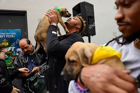 """IMAGE DISTRIBUTED FOR DISCOVERY COMMUNICATIONS - Dion Dawkins, recent offensive tackle for the Temple Owls and NFL draft prospect, center, holds up a puppy with Ron Brooks, Philadelphia Eagles cornerback, right, at the Morris Animal Refuge in Philadelphia. Animal Planet and Morris Animal Refuge hosted an adoption event to the public with a mock NFL """"draft."""" With the help from over 150 attendees, current Philadelphia Eagles NFL players evaluated and chose their team lineup amongst adoptable animals. All 14 puppies were adopted"""