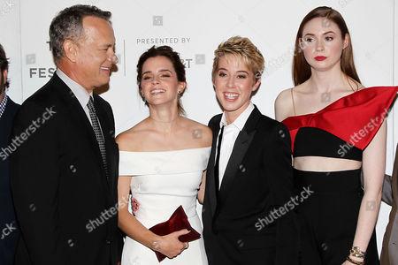 Tom Hanks, Emma Watson, Sophie Watts (President STX Ent.), Karen Gillan