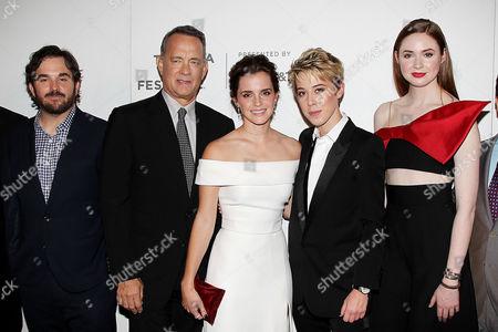 Stock Photo of Gary Goetzman, James Ponsoldt, Tom Hanks, Emma Watson, Sophie Watts (President STX Ent.), Karen Gillan
