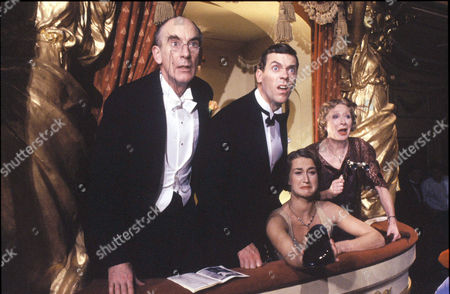 Stock Image of 'Jeeves and Wooster'  - Sir Roderick Glossop [Roger Brierley], Bertie Wooster [Hugh Laurie], Honoria Glossop [Liz Kettle] and Lady Glossop [Jane Downs]
