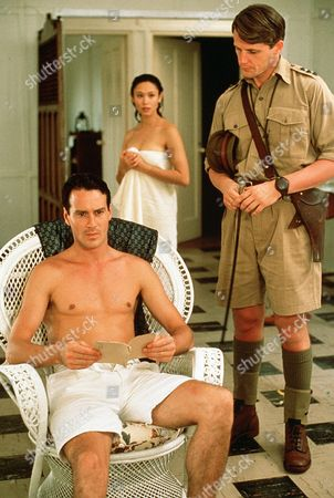 'Tanamera - Lion of Singapore' - TV - John Dexter (Christopher Bowen) is handed a note by his soldier brother Tim (Anthony Calf) as Julie Soong (Khym Lam) looks on