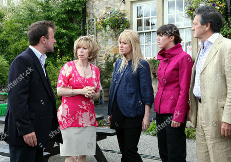 'Emmerdale'   Ep 5052 Grayson Sinclair (Christopher Villiers) is furious when Katie Sugden (Sammy Winward), Diane Sugden (Liz Estensen, Rodney Blackstock (Patrick Mower) and Matthew King (Matt Healy) refuse to back up his story to Ross Kirk (Samuel Anderson) and Donna Windsor-Dingle (Verity Rushworth) about Paul Lambert (Mathew Bose) punching him. He realises he's alone in the village.