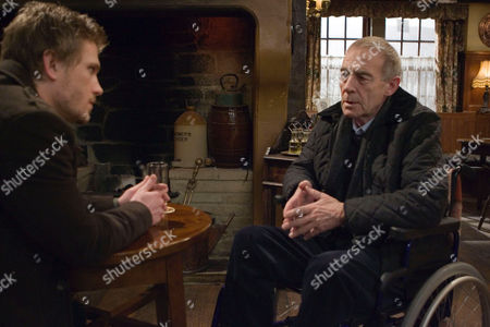 'Emmerdale'   TV   Soap   -   2008 Pictured:  Donald De Souza (Michael Jayston) is shocked when David Metcalfe (Matthew Wolfenden) tells him that Nicola is trying to kill him.