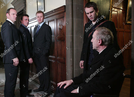 'Emmerdale'   TV   Soap   -   2008 Pictured:  Matthew King (Matt Healy) and Jimmy King (Nick Miles) are horrified when they discover that Carl King (Tom Lister) has stabbed them in the back over the haulage contract and decided to team up with Donald De Souza (Michael Jayston). Miles De Souza (Ayden Callaghan) wants to know what his father is playing at.