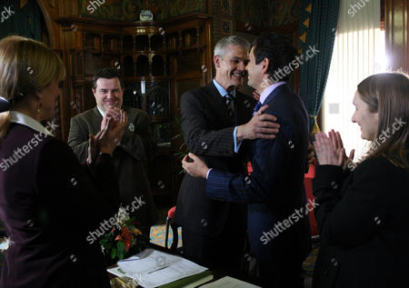 'Emmerdale'   TV   Soap   -   2008 Pictured:  Paul Lambert (Mathew Bose) and Jonny Foster (Richard Grieve) sneak off and secretly get married in a registry office. They ask Emily Kirk (Kate McGregor) to be a witness along with Barry (Joe Mills).