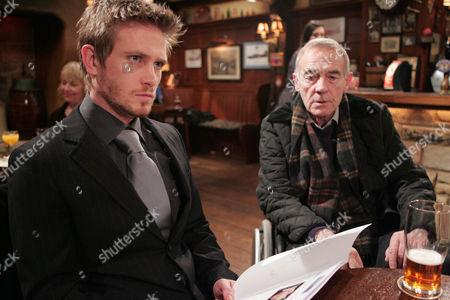 'Emmerdale'   TV   Soap   -   2008 Pictured: David Metcalfe (Matthew Wolfenden) is left with a lot to think about after Donald De Souza (Michael Jayston) offers him a dream job as long as he stays away from Nicola.