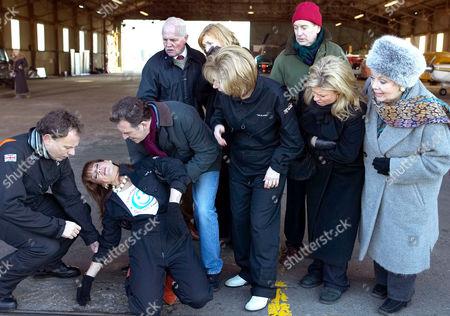 'Emmerdale'   TV   Soap   -   2008 Pictured: Val Lambert (Charlie Hardwick) and Viv Hope (Deena Payne) aren't sure they can go through with the charity aerobatics display despite the encouragment of Bob Hope (Tony Audenshaw), Eric Pollard (Chris Chittell), Diane Sugden (Liz Estensen), Ashley Thomas (John Middleton), Louise Appleton (Emily Symons) and Pearl Ladderbanks (Meg Johnson).