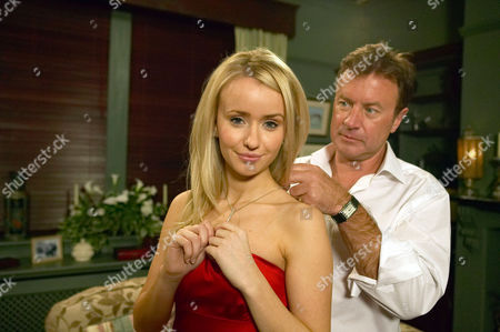 'Emmerdale'   TV   Soap   -   2008 Pictured: Katie Sugden (Sammy Winward) is delighted when Grayson Sinclair (Christopher Villiers) gives her a present he's brought back for her from his trip. It's obvious an attraction is growing between them.