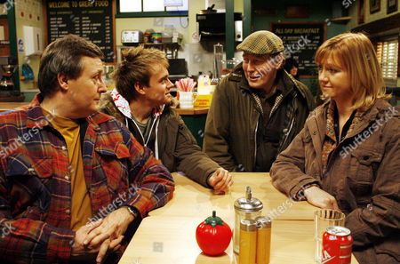 'Emmerdale'   TV   Soap   -   2008 Pictured: Jack Sugen (Clive Hornby) knows that Mel Doland (Caroline Strong) is worrying about son Jake Doland (James Baxter) so offers him a job. Greg Doland (Shaun Prendergast) is also grateful.