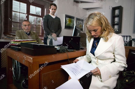 'Emmerdale'   TV   Soap   -   2008 Pictured:  Nicola De Souza (Nicola Wheeler) can't believe it when Donald De Souza (Michael Jayston) tells her that she can have a divorce but she wont get a penny from him. Miles De Souza (Ayden Callaghan) hopes his father carries through his threat.