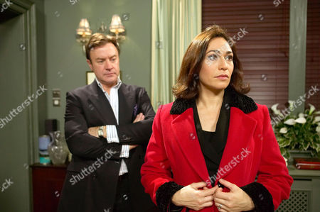 'Emmerdale'   TV   Soap   -   2008 Pictured: Perdita Hyde-Sinclair (Georgia Slowe) shocks Grayson Sinclair (Christopher Viliers) by asking for a divorce.