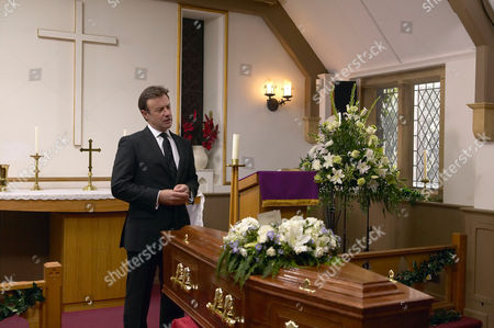 'Emmerdale'   TV   Soap   -   2008 Pictured: Grayson Sinclair (Christopher Villiers) gives a moving eulogy at Rosemary's funeral.