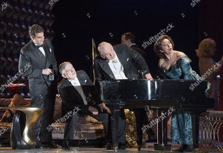 Stock Image of Frederic Antoun as Raul, Sten Byriel as Sergio, Thomas Allen as Alberto, Christine Rice as Blanca