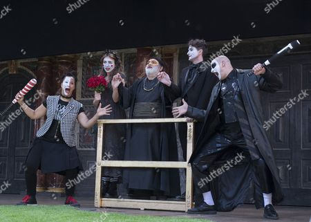 Golda Rosheuvel as Mercutio, Kirsty Bushell as Juliet, Harish Patel as Friar Lawrence, Edward Hogg as Romeo, Ricky Champ as Tybalt