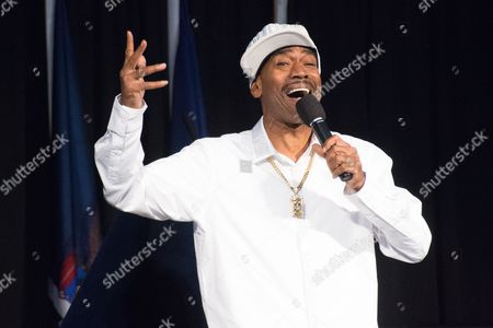 Stock Photo of Legendary hip hop performer Kurtis Blow wows the crowd