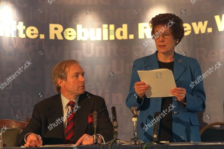 All Pictures Taken At The Press Conference To Launch The Campaign Of Peter Lilley As A Runner For The Conservative Leadership Race Pictures Show Peter Lilley With Gillian Shephard (now Baroness Shephard Of Northwold) Answering Press Questions. Other Pictures Show The Group Backing Peter Lilley. Other Pictures Show Peter Lilley And His Wife Gail. Caption Ends........