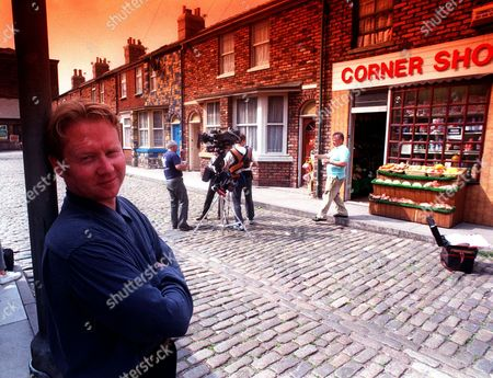 Producer Of Television Programme Coronation Street Brian Park. On Filming Set.