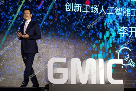 Kai-Fu Lee, CEO of Sinovation Ventures and the former head of Google China, speaks during a presentation at the Global Mobile Internet Conference (GMIC) in Beijing, . The GMIC features current and future trends in the mobile Internet industry by some major foreign and Chinese internet companies