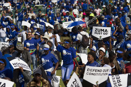 Civil Society, political parties and church leaders under the banner of the Freedom Movement gather in protest against President Jacob Zuma in Pretoria, South Africa, 27 April 2017. The 27th of April is Freedom Day in South Africa, a public holiday that commemorates and celebrates South Africa?s first democratic elections on this day in 1994. The Freedom Movement is calling for the resignation of the African National Congress (ANC) backed President Zuma. Zuma has said he will not resign following calls from opposition parties, public officials and the public to do so. This follows mass action across the country two weeks ago in most major cities after President Zuma fired members of the cabinet including Finance Minister Pravin Gordhan, sending the local currency, the Rand, to new lows against the US dollar.