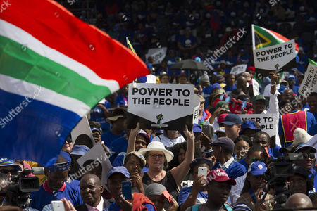Civil Society, political parties and church leaders under the banner of the Freedom Movement gather in protest against President Jacob Zuma, Pretoria, South Africa, 27 April 2017. The 27th of April is Freedom Day in South Africa, a public holiday that commemorates and celebrates South Africa?s first democratic elections on this day in 1994. The Freedom Movement is calling for the resignation of the African National Congress (ANC) backed President Zuma. Zuma has said he will not resign following calls from opposition parties, public officials and the public to do so. This follows mass action across the country two weeks ago in most major cities after President Zuma fired members of the cabinet including Finance Minister Pravin Gordhan, sending the local currency, the Rand, to new lows against the US dollar.