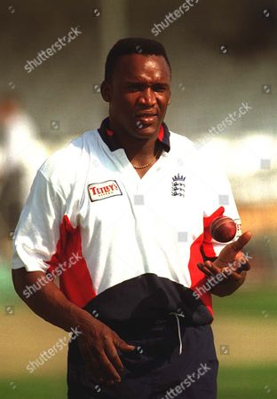 Cricketer Devon Malcolm Pictured During A Nets Session At Trent Bridge In 1997.