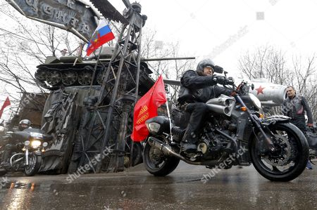 Alexander Zaldostanov (C), leader of the Russian motorcycle club the Night Wolves and his club-mates start their rally from Moscow to Berlin 'Victory Roads - to Berlin' from Bike Center in the Lower Mnevniki street in Moscow, Russia, 27 April 2017. The annual 'Victory Roads - to Berlin' motorcycle rally marking the 72st anniversary of victory over Nazi-Germany in WWII lasts for 14 days and covers 6,000 km.