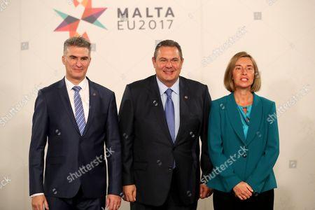 Panos Kammenos, Carmelo Abela and Federica Mogherini