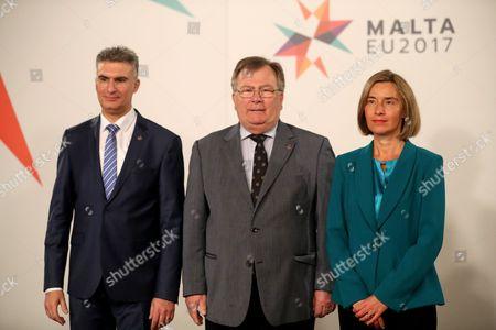 Claus Hjort Frederiksen, Carmelo Abela and Federica Mogherini